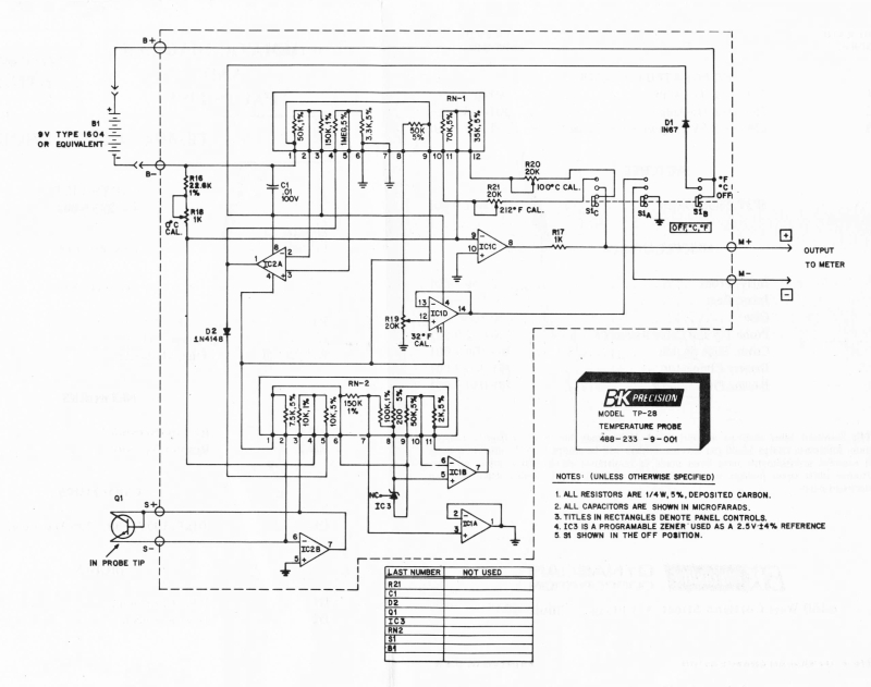 b u0026k precision tp-28 temperature probe schematic